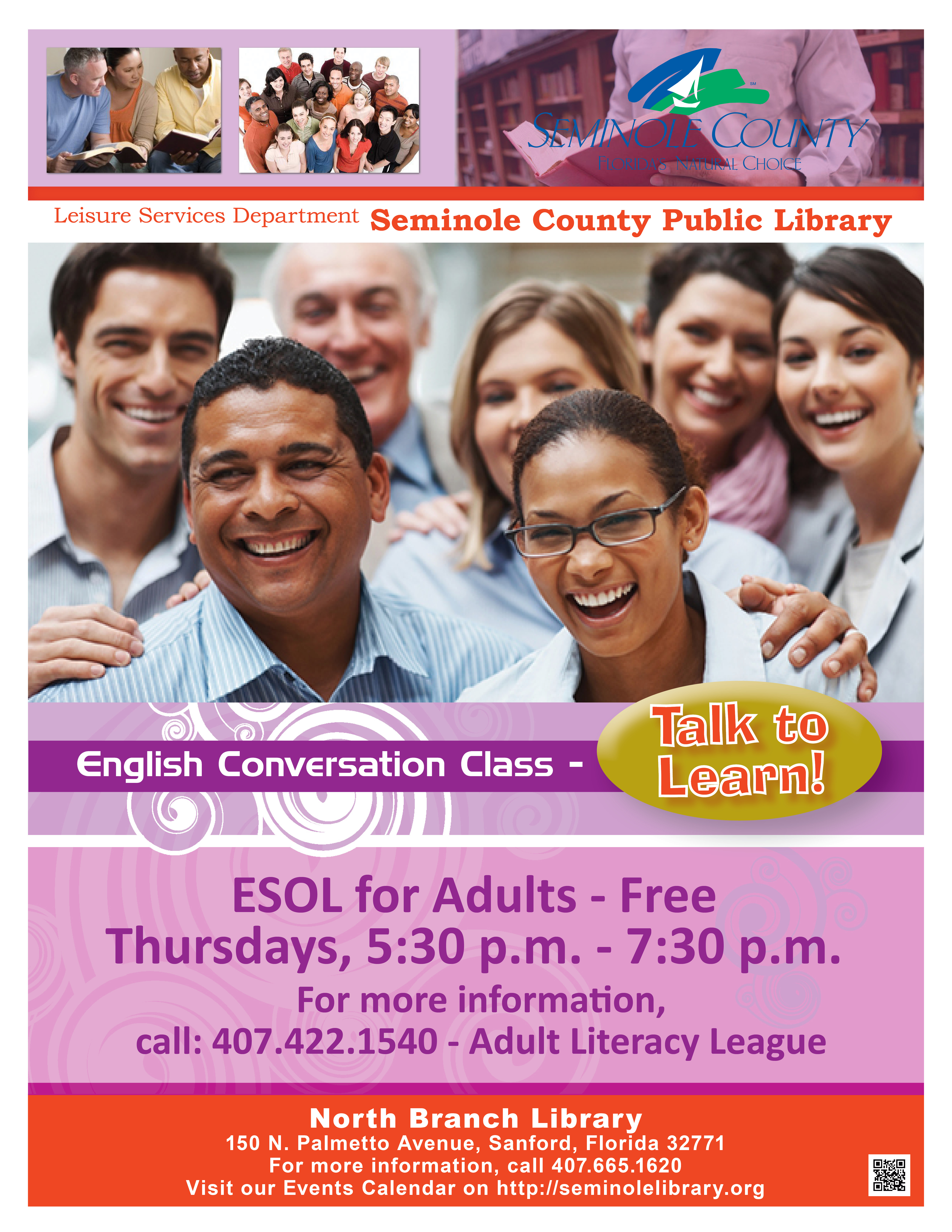 English Conversation Class (ESOL) @ North Branch Library (Sanford)