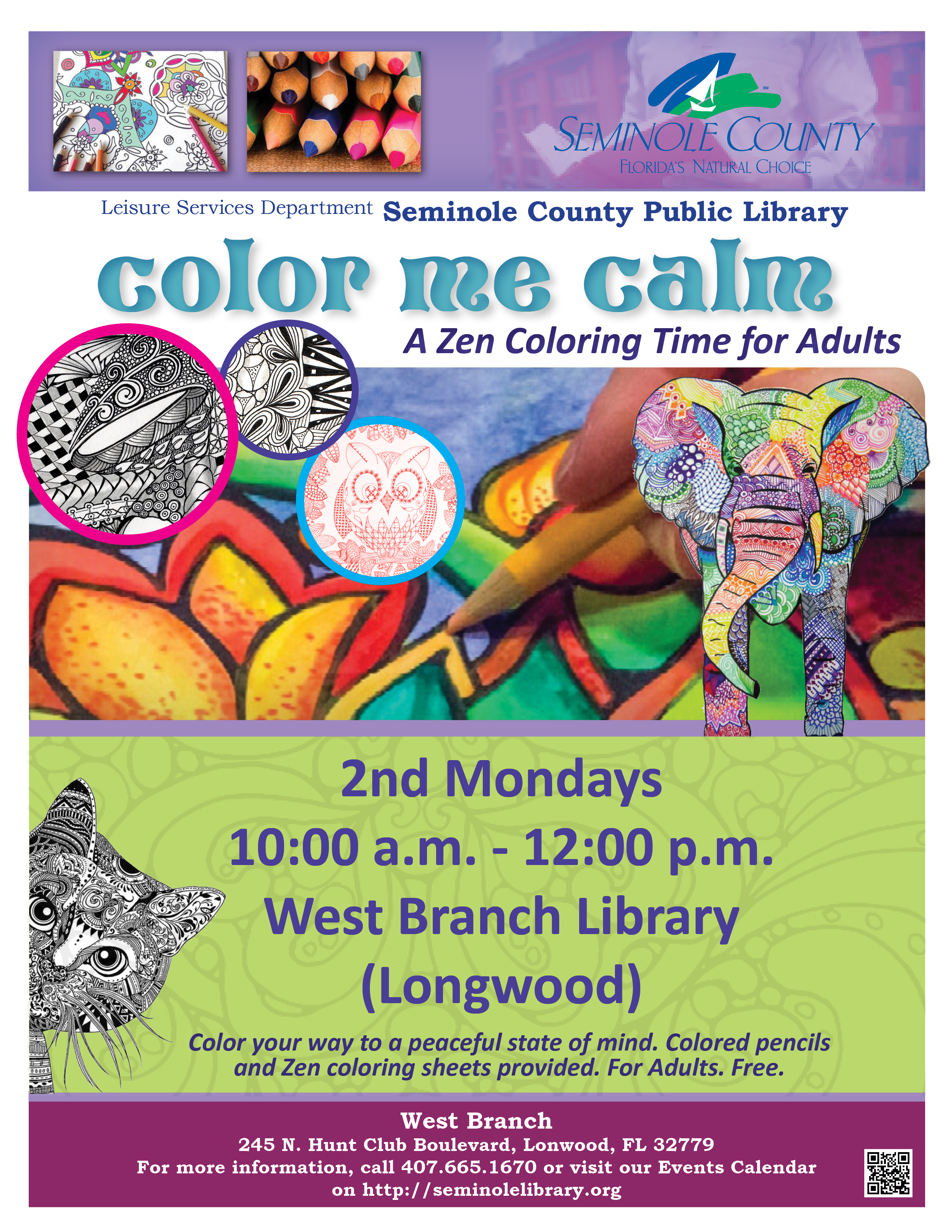 Color Me Calm @ West Branch Library (Longwood/Wekiva)