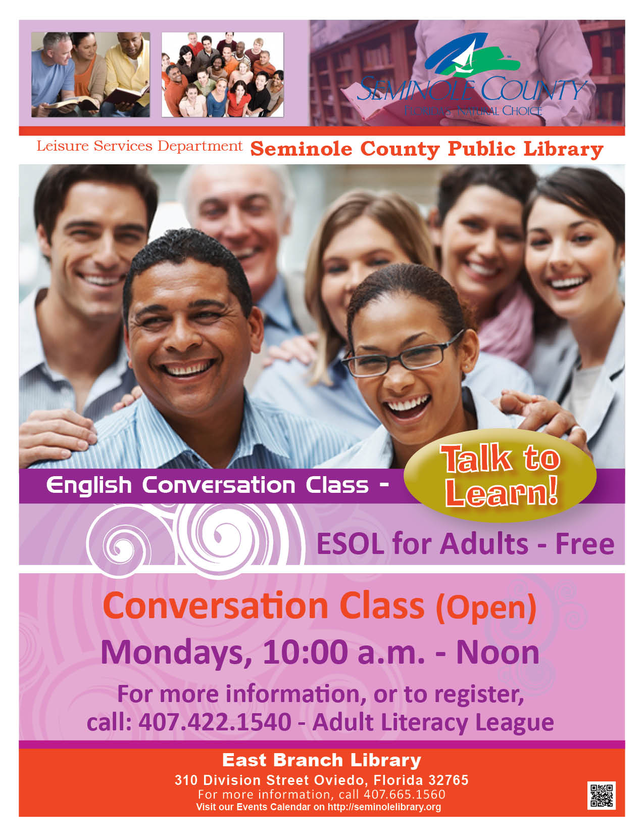 English Conversation Class (ESOL) @ East Branch Library (Oviedo)
