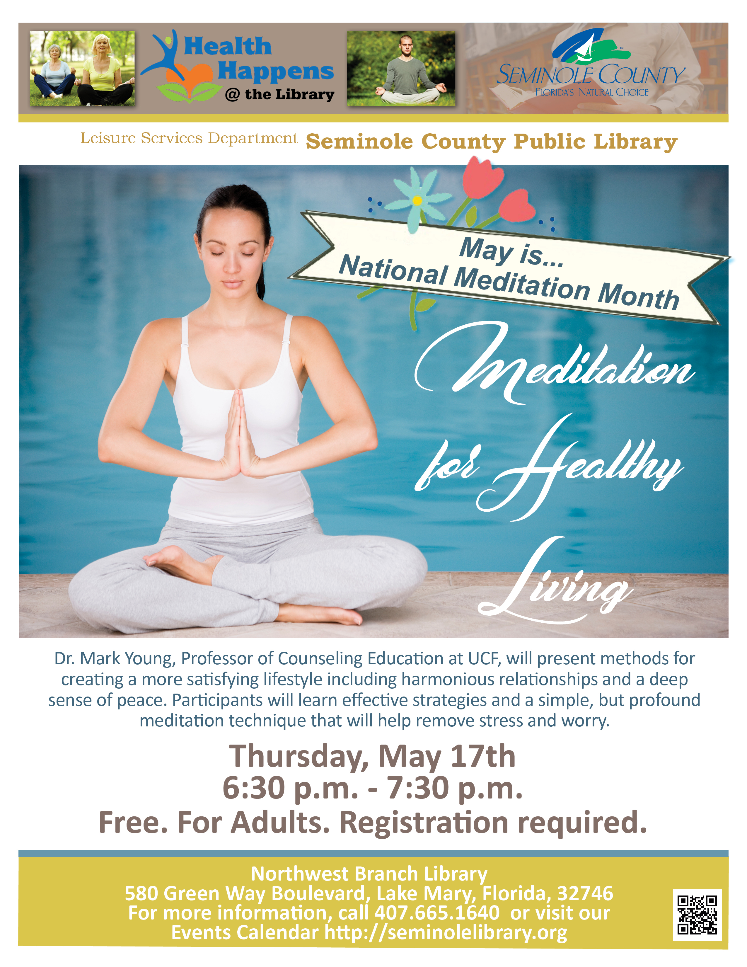 Meditation for Healthy Living @ Northwest Branch Library (Lake Mary)