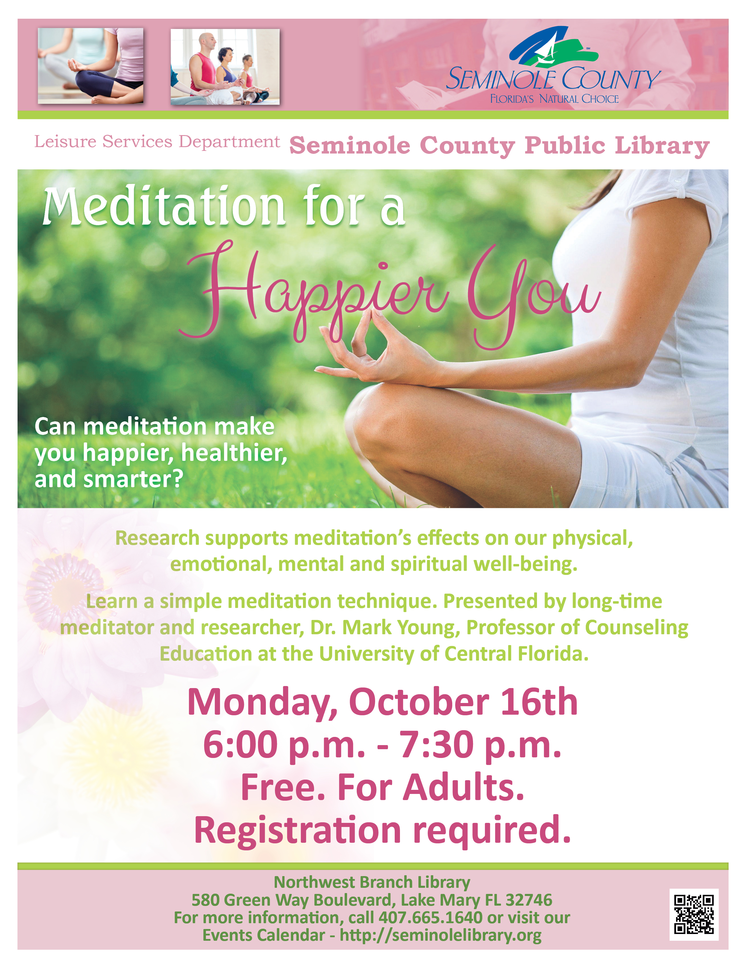 Meditation for a Happier You @ Northwest Branch Library (Lake Mary)