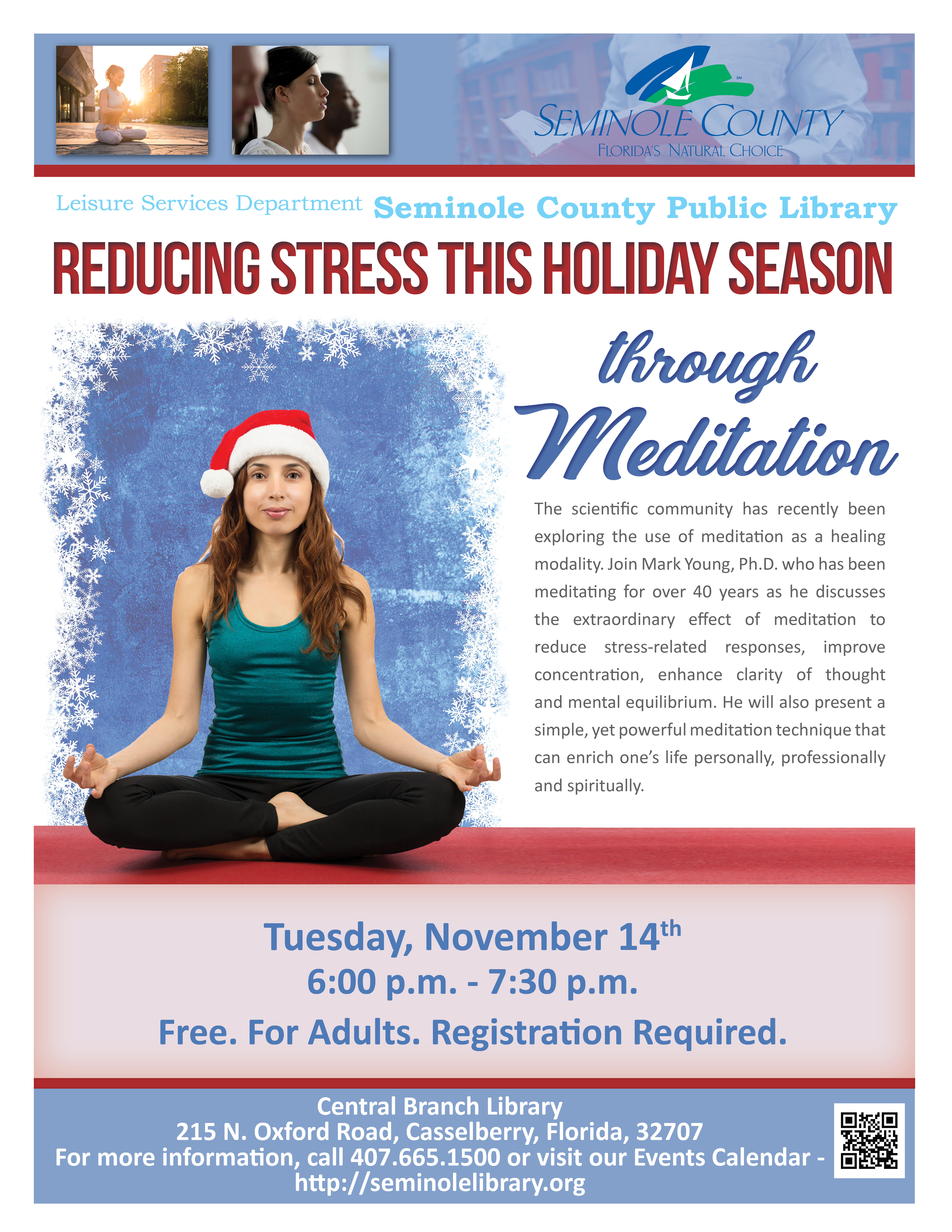 Reducing Stress through Meditation @ Central Branch Library (Casselberry)