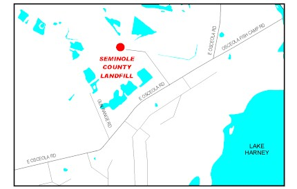 Map location of Seminole County Landfill