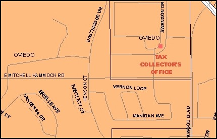 Map location of Tax Collector's Office - Oviedo