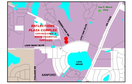 Map location of Environmental Services - Reflections Plaza Complex