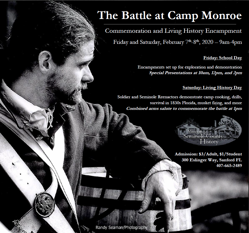 Flyer for Upcoming Museum Event, Battle at Camp Monroe, February 7 and 8 2020, 9am to 4pm.