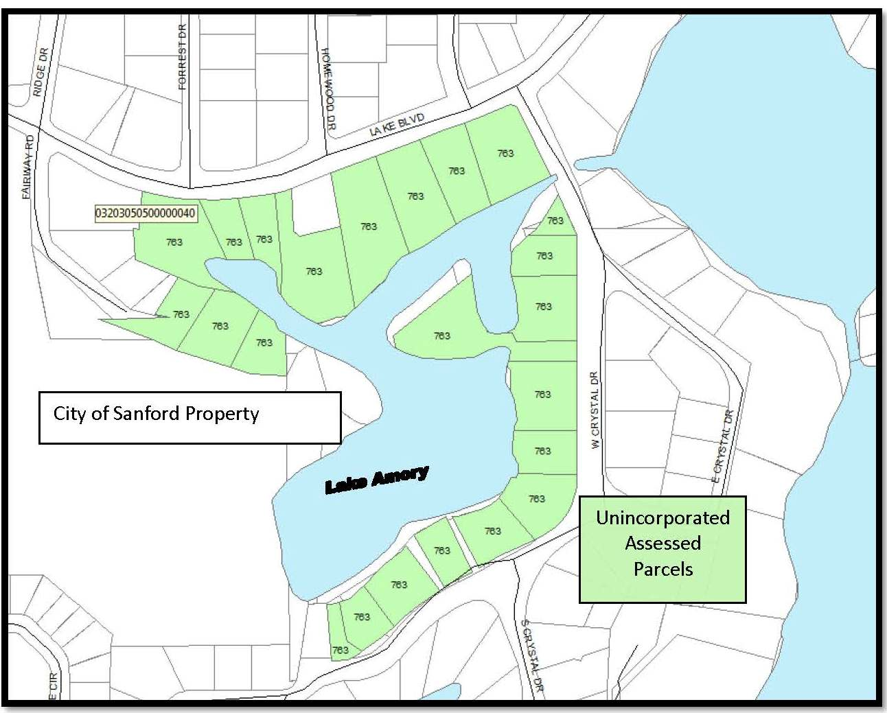 Lake Amory Assessed Parcels Map