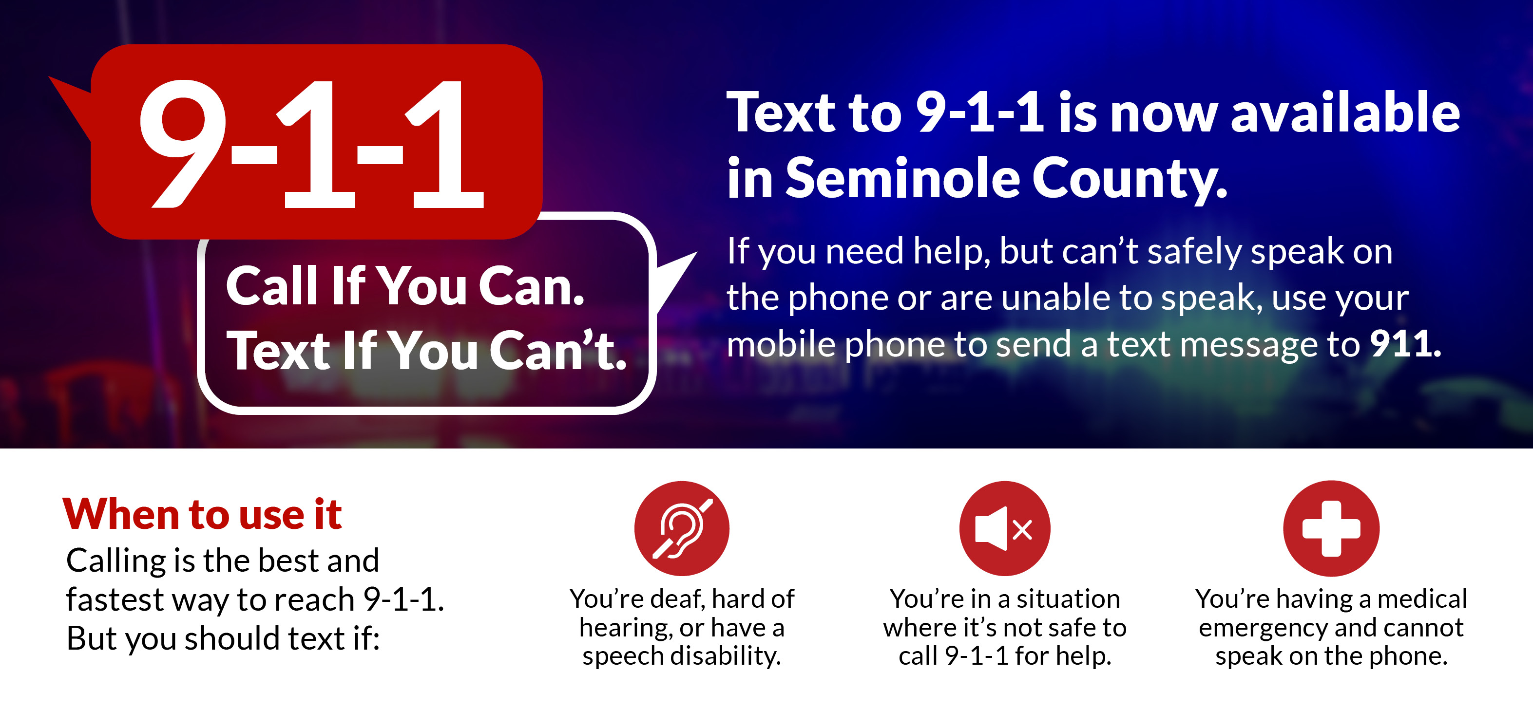 Text-to-911 graphic: Call if you can. Text if you can't.