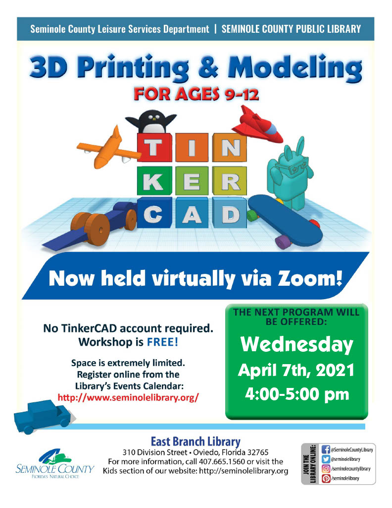3D Printing and Modeling for ages 9-12 - Now virtually via Zoom