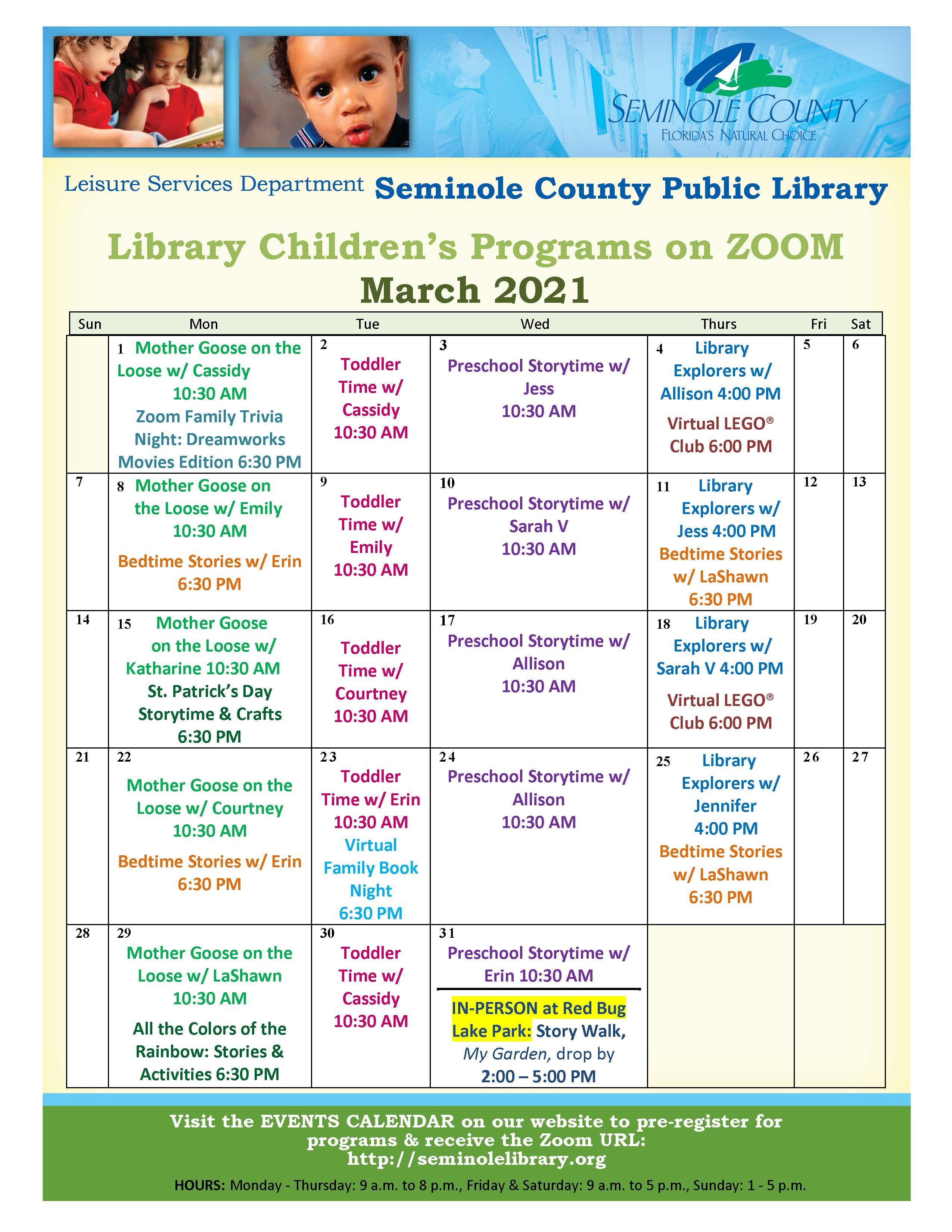 March 2021 Library Programs for Children on Zoom