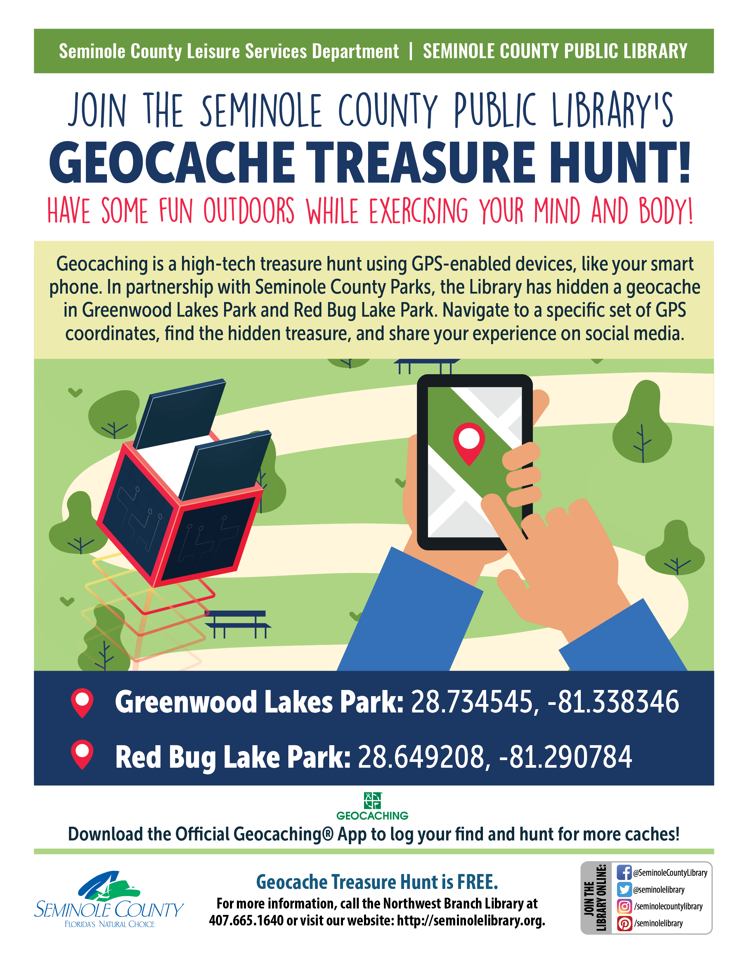Join the Seminole County Public Library's Geocache Treasure Hunt