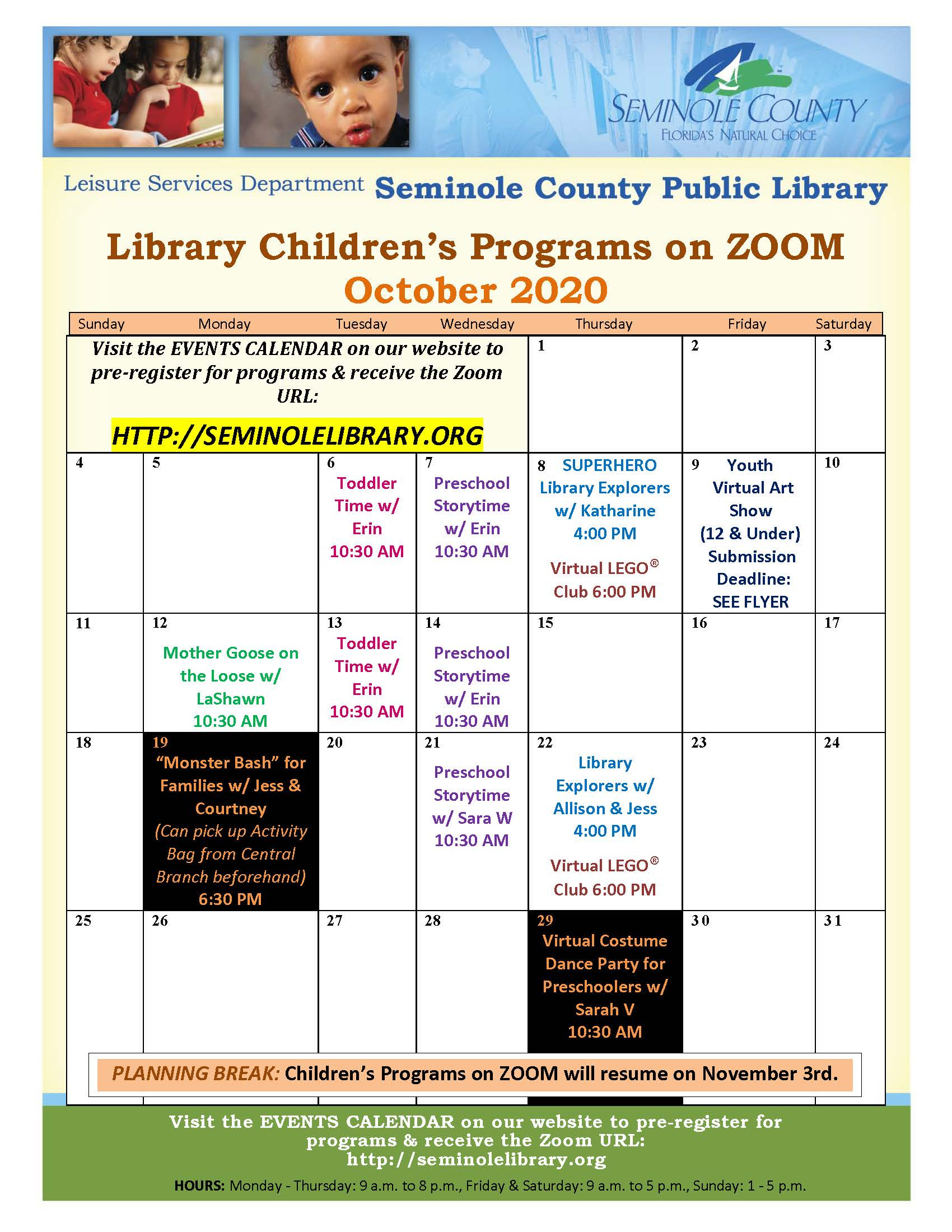 October 2020 - Library Children's Programs on Zoom
