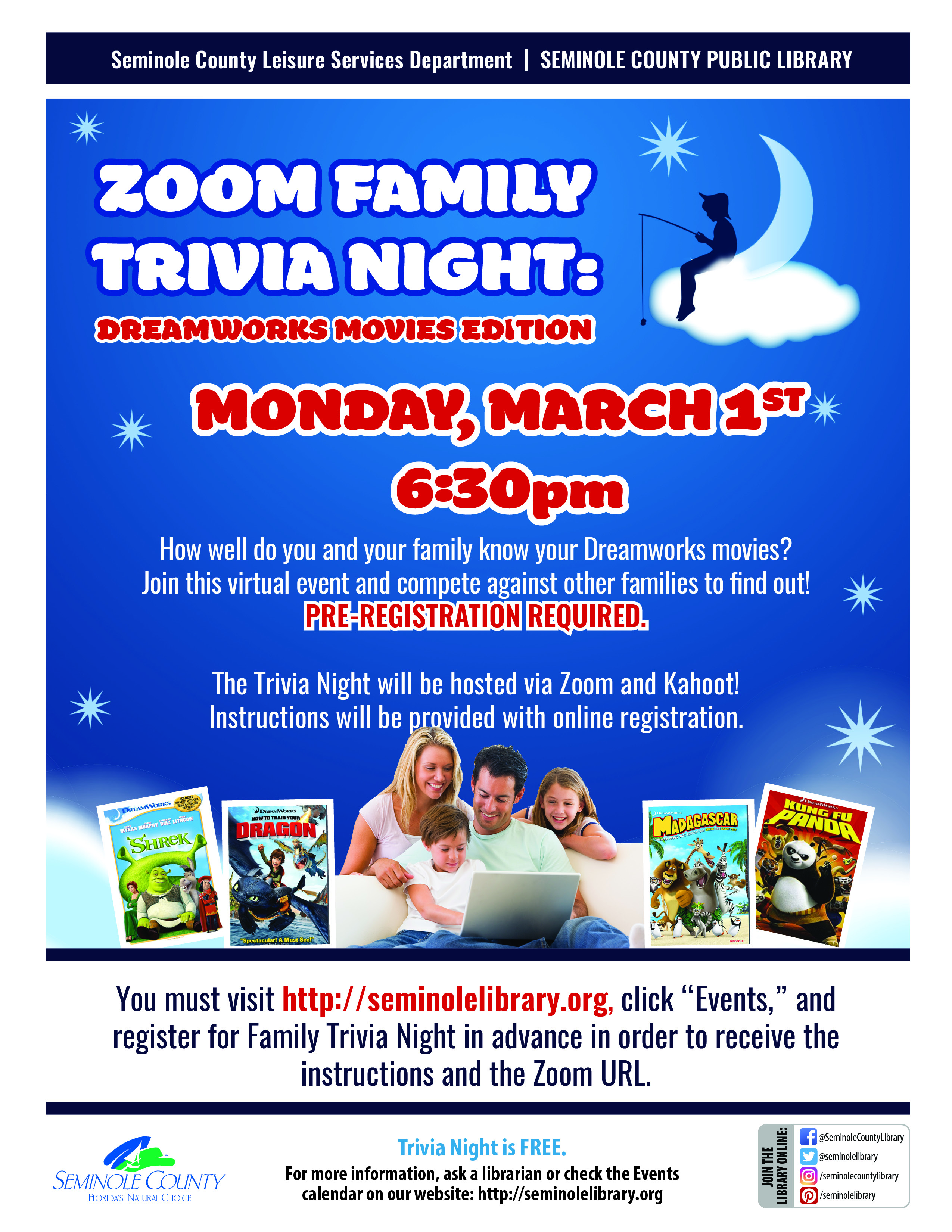Family Trivia Night - Dreamworks Movies Edition