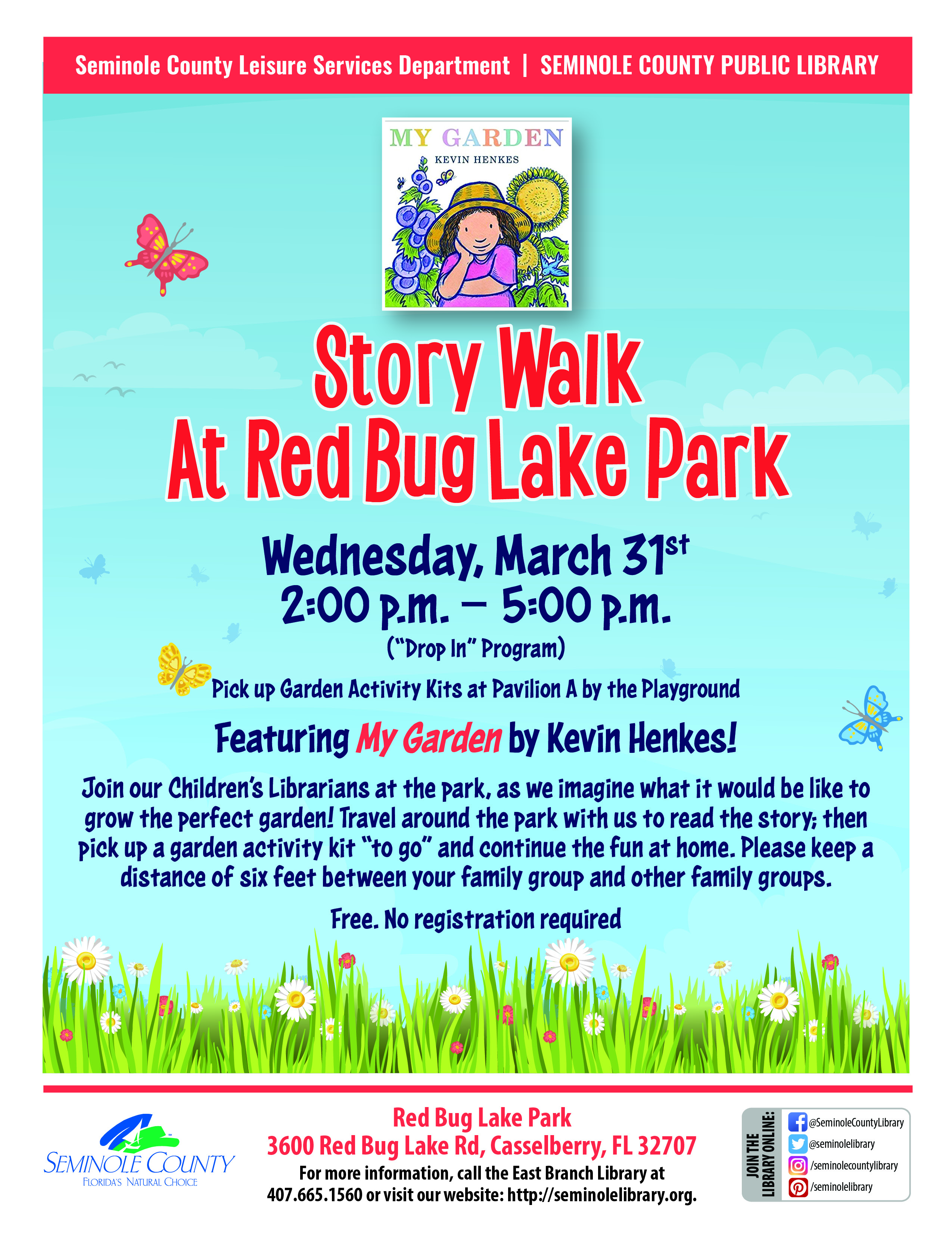 Story Walk at Red Bug Lake Park with the Seminole County Public Library - March 31st