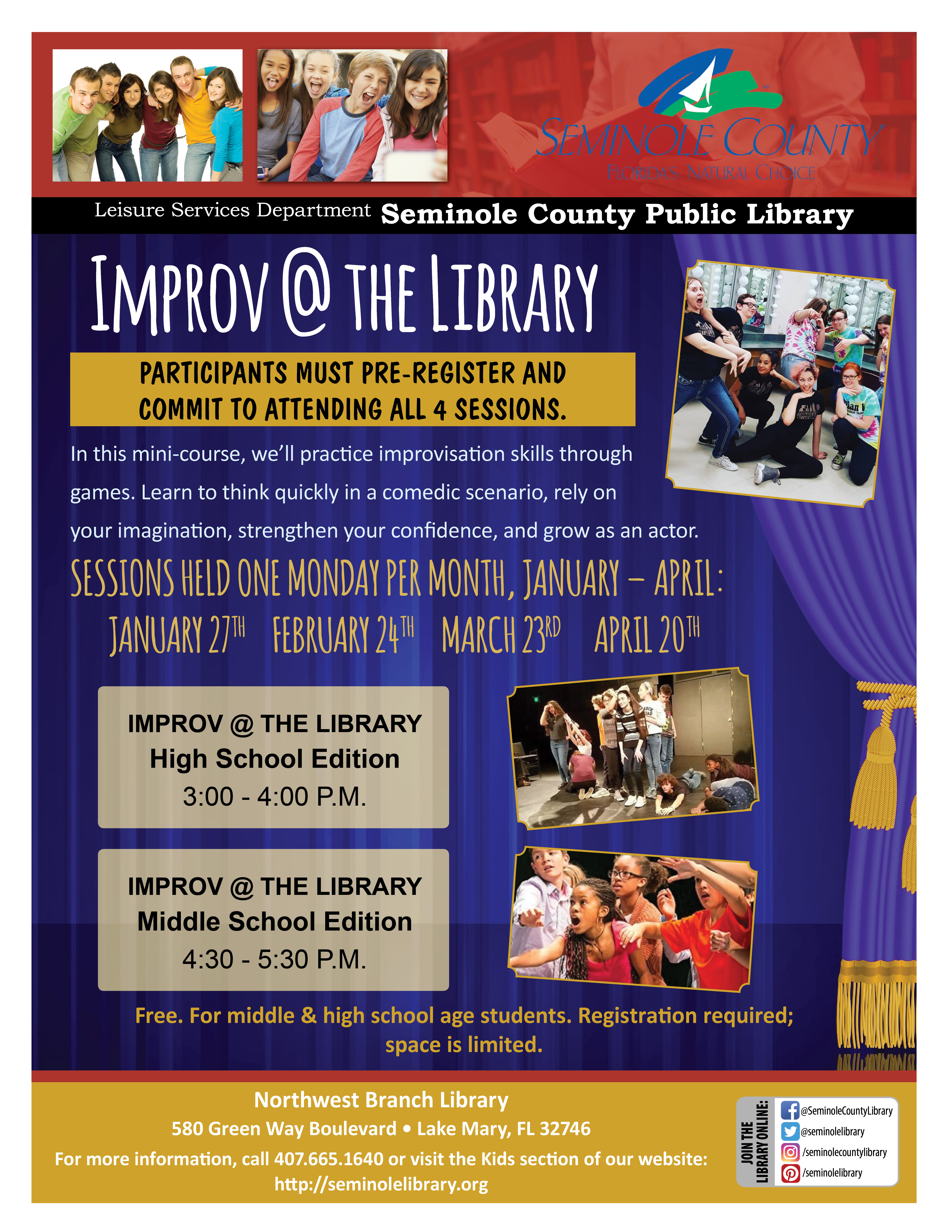 Improv @ the Library for Tweens and Teens