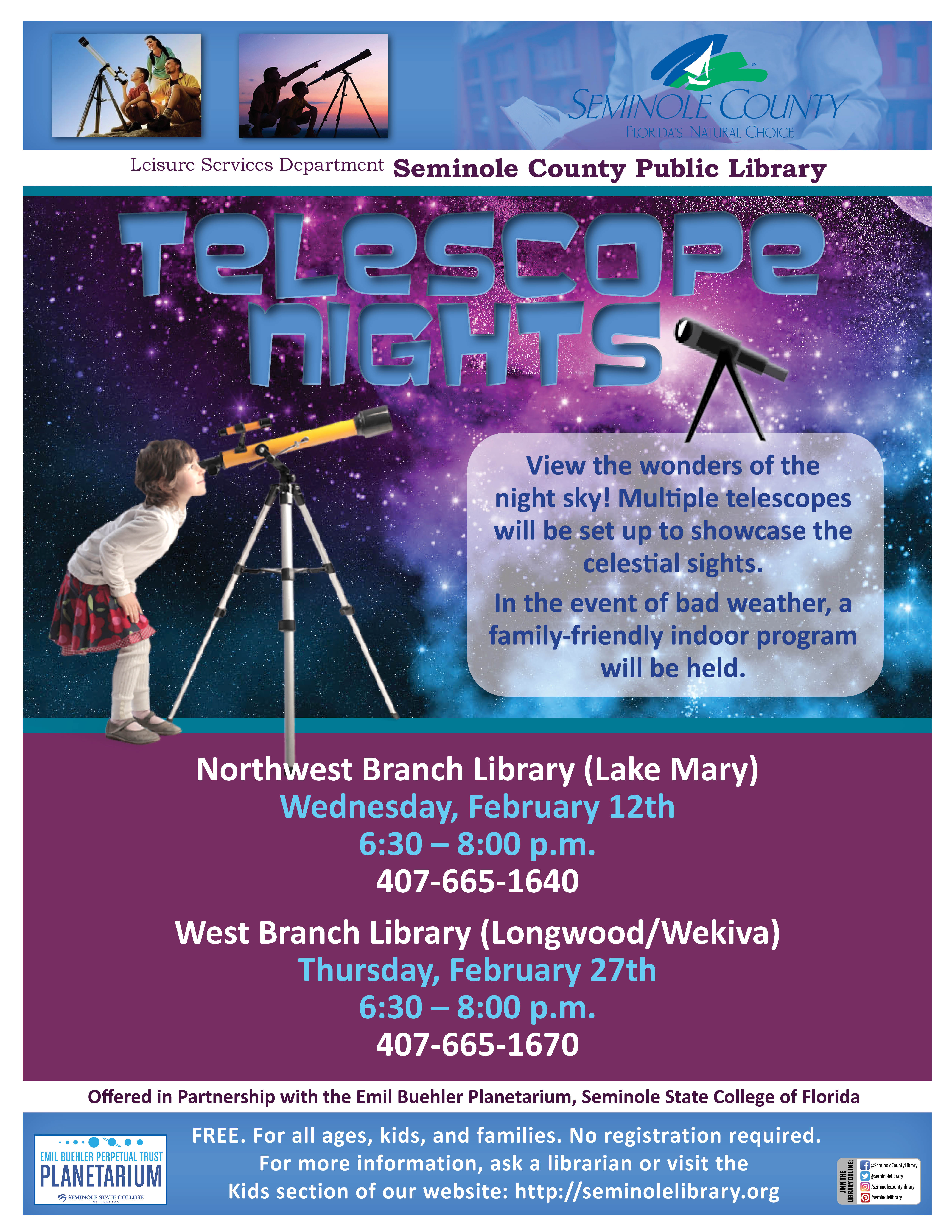 Telescope Nights Northwest and West Branch Libraries