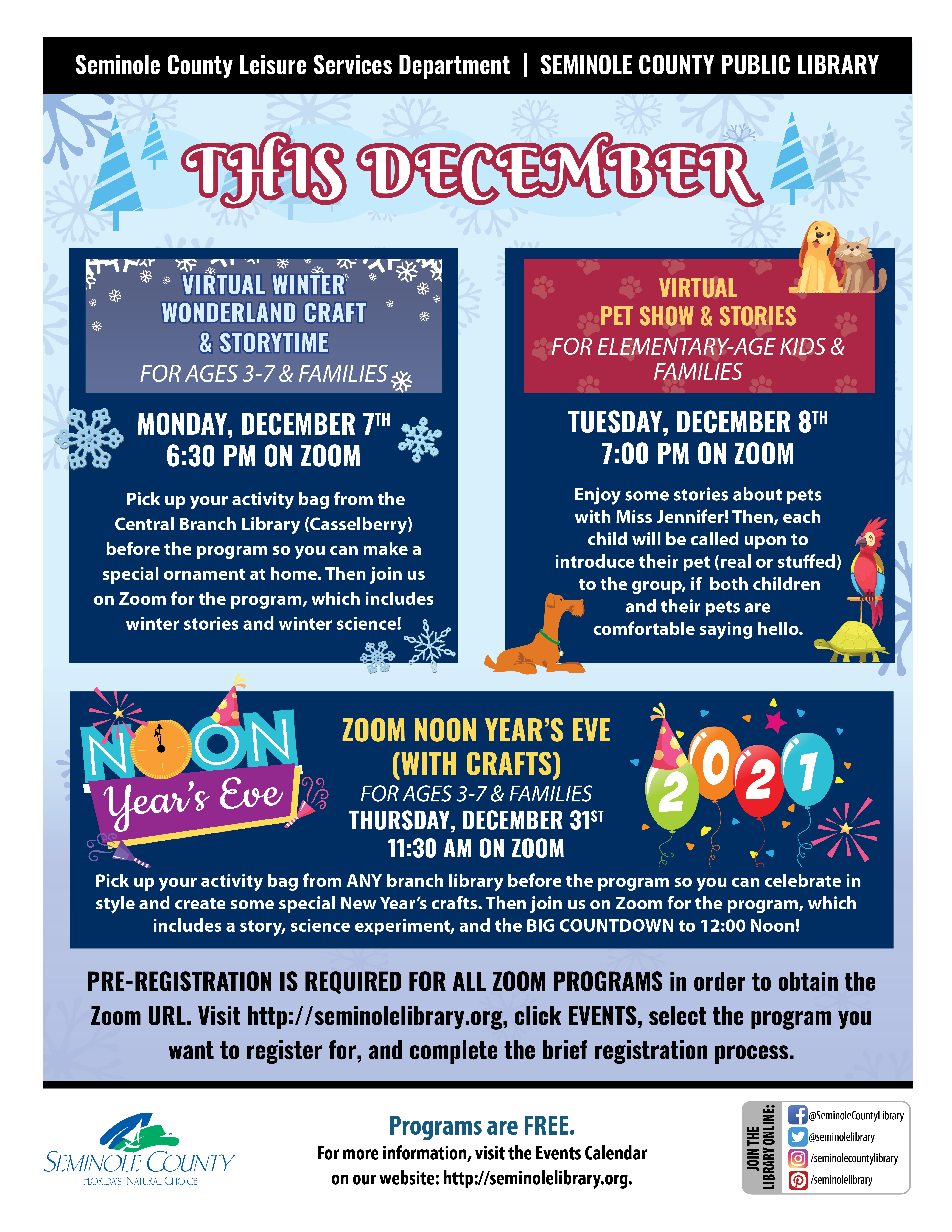 This December - Children's Zoom Programs from the Library