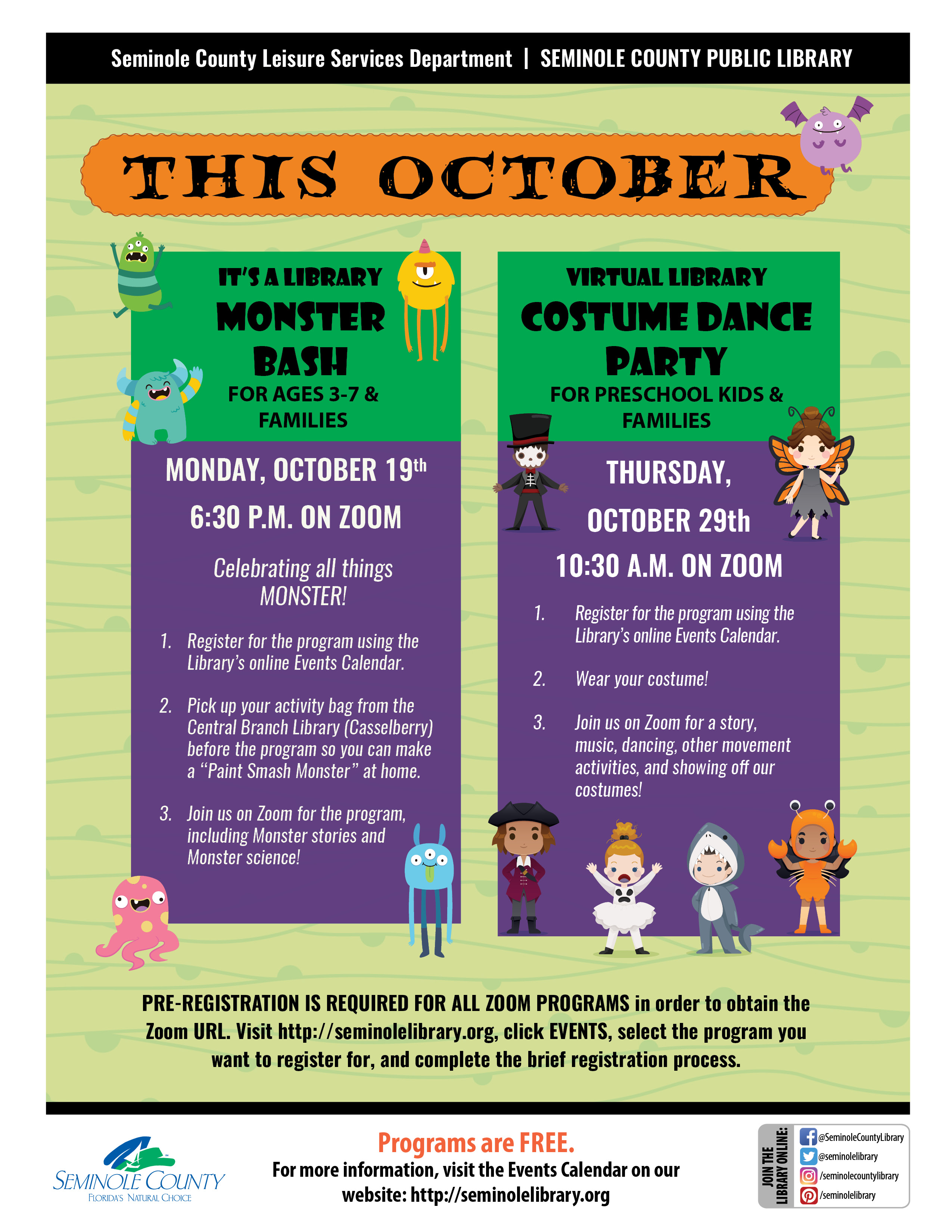 This October - Special Zoom Programs for Children