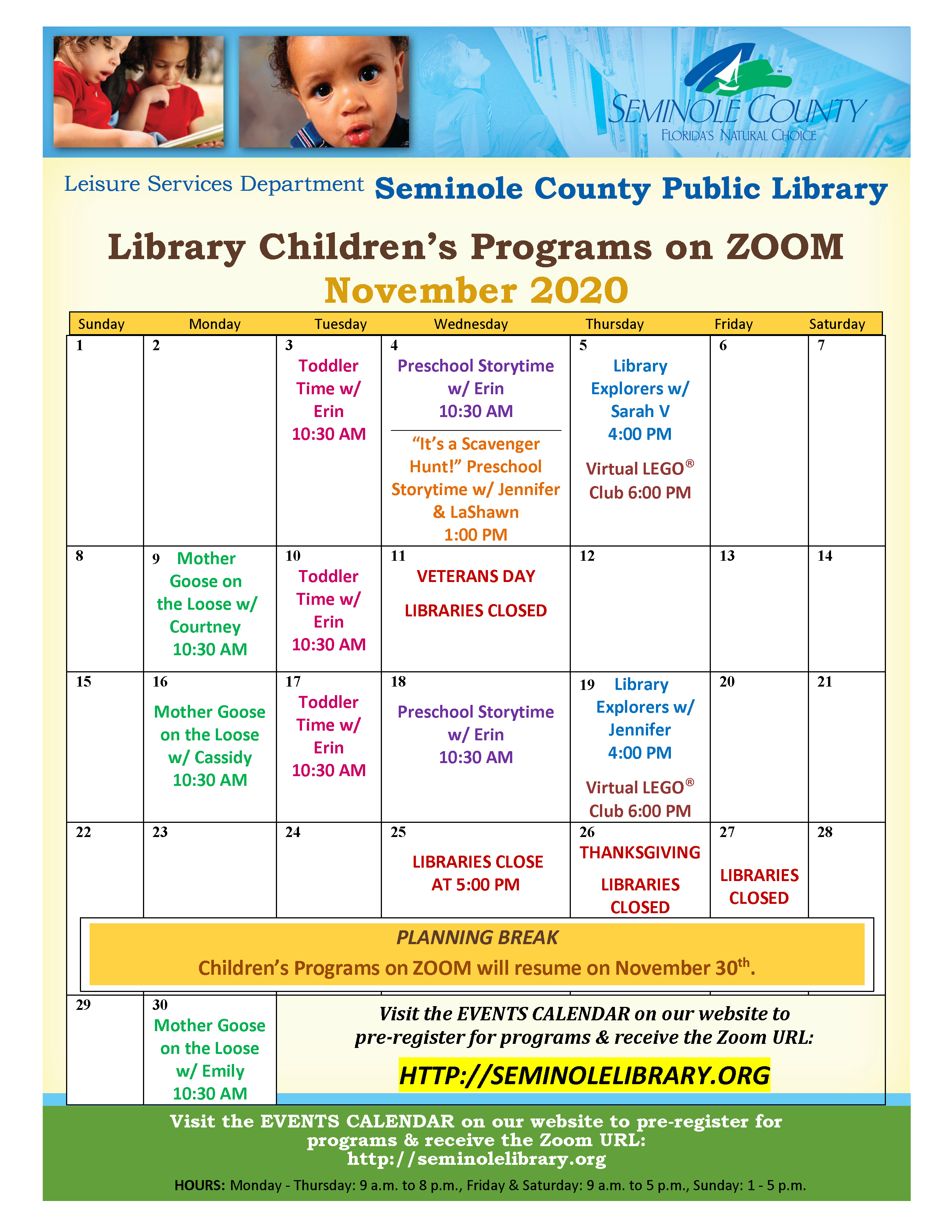 November Children's Programs on Zoom