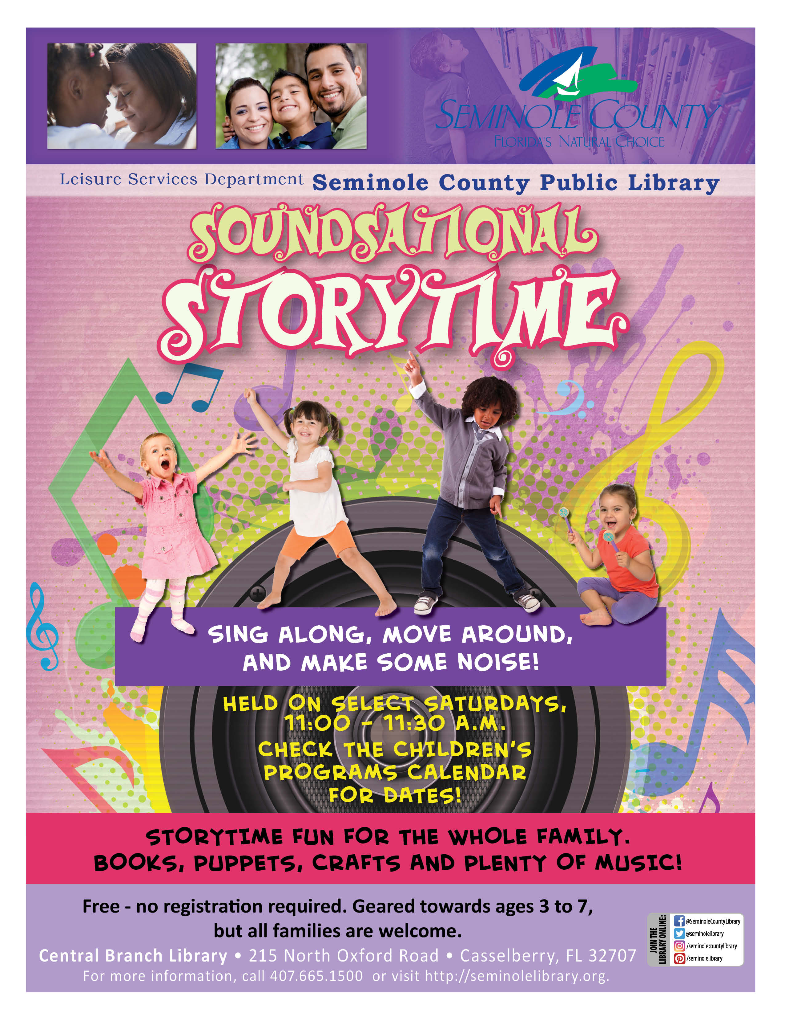 Soundsational Storytime Select Saturdays Central Branch Library